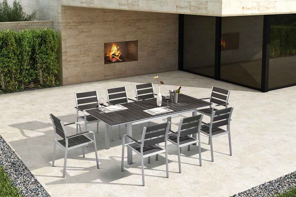 Aluminum Furniture Outdoor Extendable Dining Table Set - ZAC