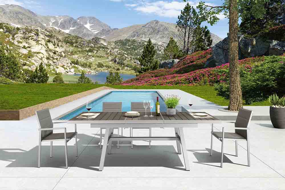 Rustic Outdoor Furniture 9 Piece Extendable Outdoor Table Dining Set - Trevi