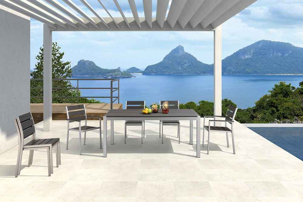 Patio Dining Furniture 7 Piece Plastic Wood Dining Set - Marley