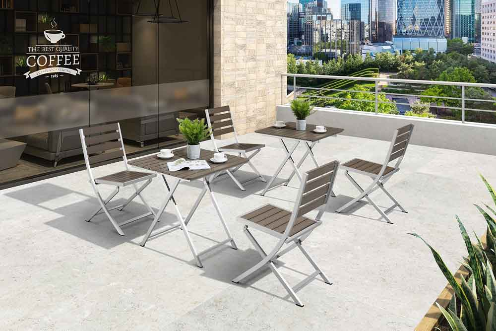 Small Balcony Furniture 3 Piece Outdoor Bistro Table Set For Restaurant - Roman