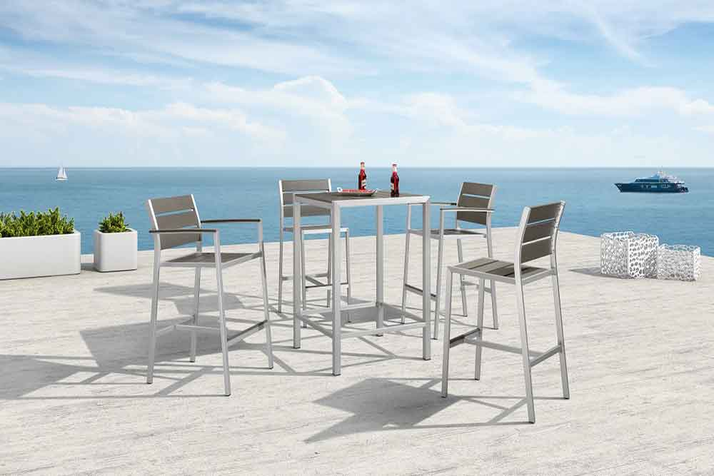 Outdoor Pub Furniture Aluminum Bar Table And Stools - Praha