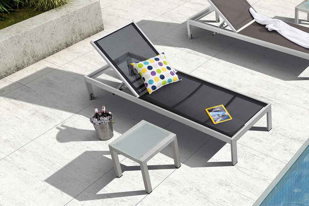 Stackable Black Chaise Lounge Outdoor For Swimming Pool - Kim