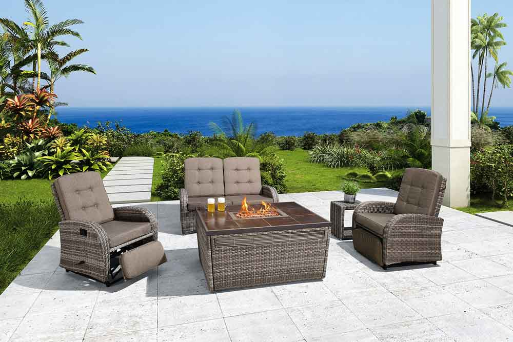 KD Furniture Rattan Outdoor Sofa With Fire Pit For Lawn - Jane
