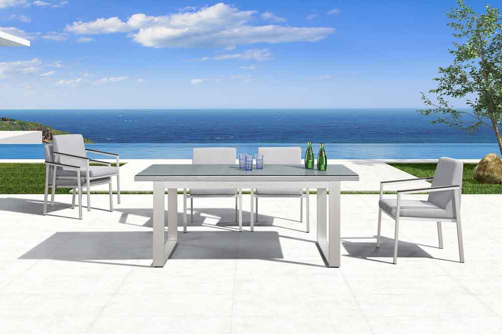 Modern Outdoor 7 Piece Outdoor Dining Set With Aluminum Dining Chairs - Oslo