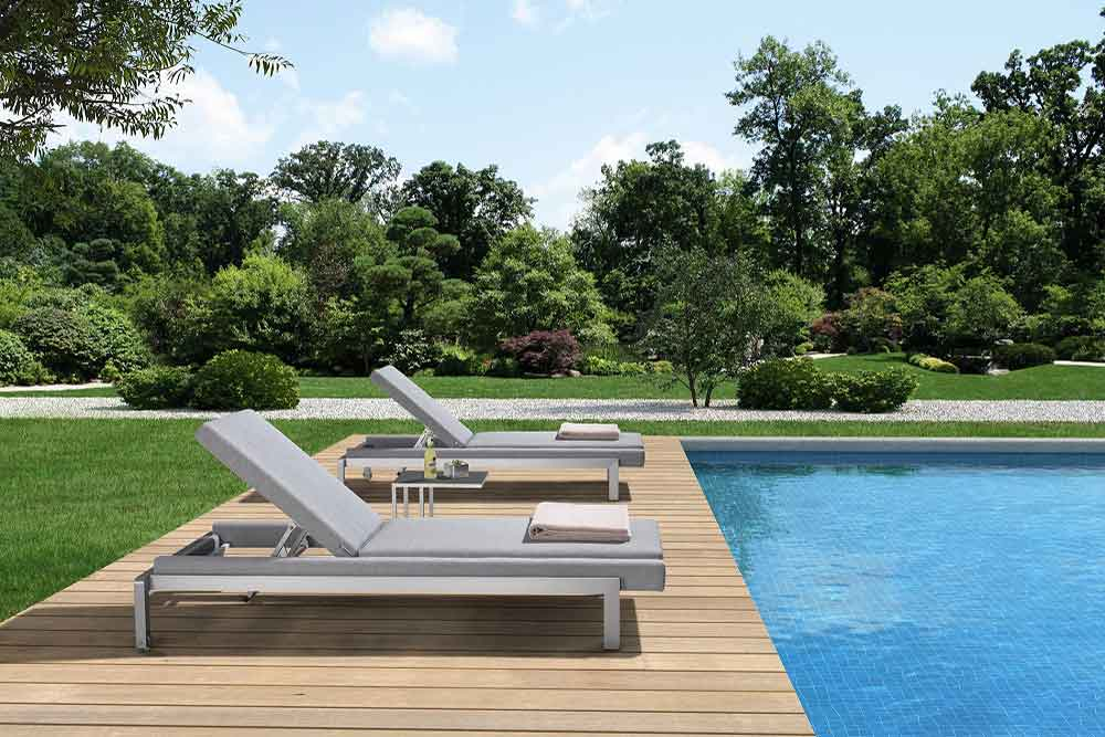 Outdoor Furniture Cushioned Sun Lounger For Garden With Side Table - Oslo