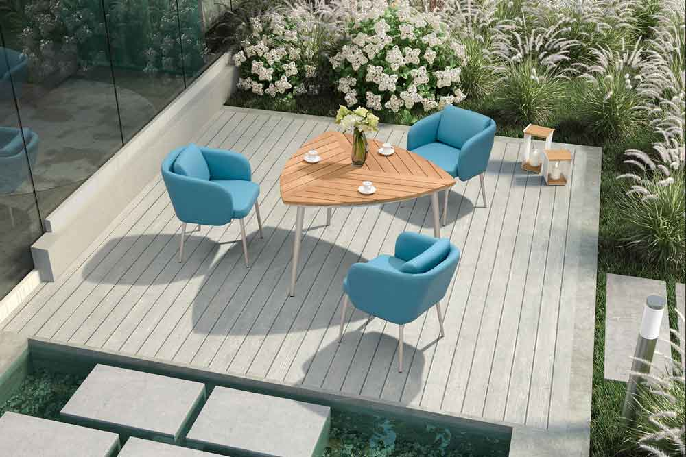 Office Lounge Balcony Furniture Conversation Outdoor Set Teak Table - Byron