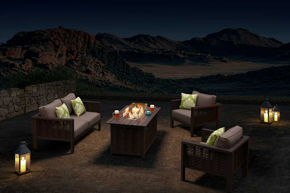 Brown Rattan Fire Pit With Wicker Patio Sofa Sectionals For Party - Dallas