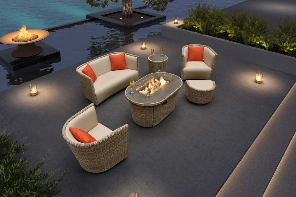 Sectional Outdoor Furniture Rattan Gas Fire Pit Table With Sofa Outside - Oxford