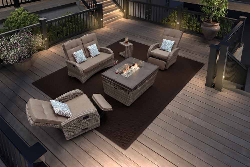 Lodge Modern Rattan Garden Gas Fire Pit Furniture With Outdoor Sofa Set - Jane